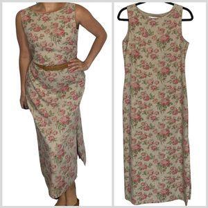 Vintage Floral Maxi Dress Linen Blend Sleeveless